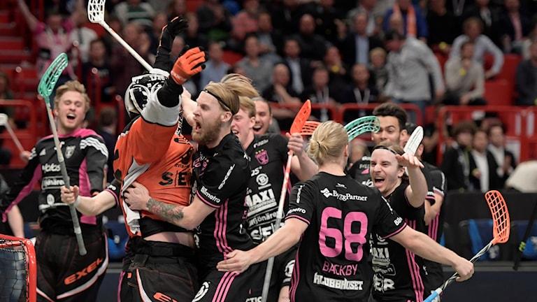 Guldjubel bland spelarna i IBF Falun.