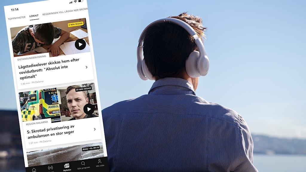 En man lyssnar med hörlurar och em sprintscreen från P4 Dalarnas lokala spellista i appen Sveriges Radio Play.