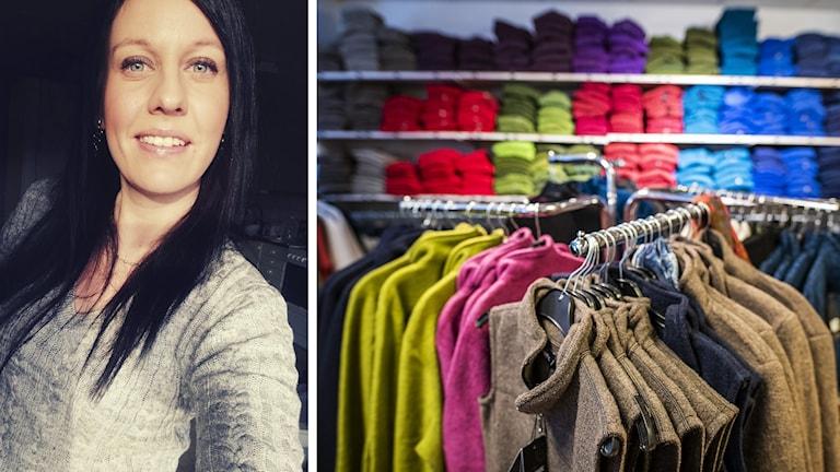 Emelie Lindberg och kläder i en butik.