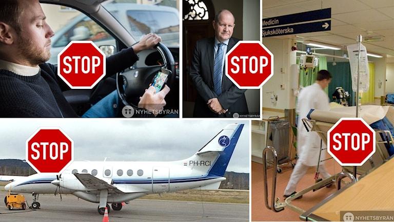 Collage av bilder på man som surfar på mobilen när han kör bil, Dan Eliasson, vitklädd vårdpersonal som skyndar fram på sjukhus, ett flygplan på en landningsbana samt fyra stoppskyltar.