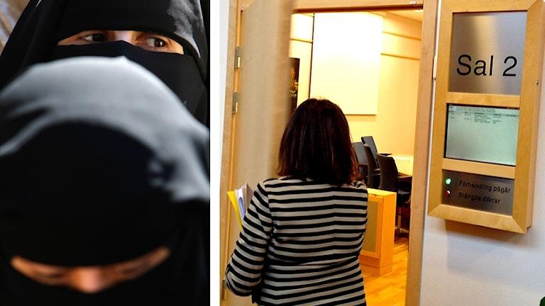 Bild på två beslöjade kvinnor till vänster - till höger bild tagen bakifrån på åklagare Gun-Britt Ström när hon går in i en rättssal.