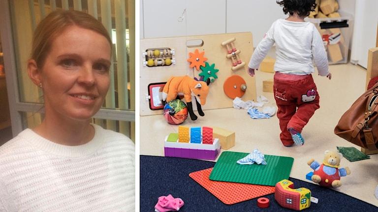 Förskolechefen i Falun Lena Nordlund, samt ett barn som leker.