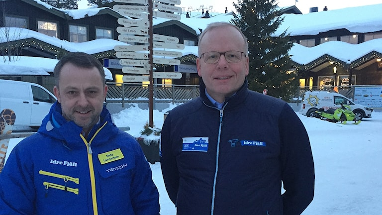 Idre Fjäll-anläggningens marknadschef Mats Lennartsson och Tomas Ringsby som är ordförande i Stiftelsen Idre Fjäll.