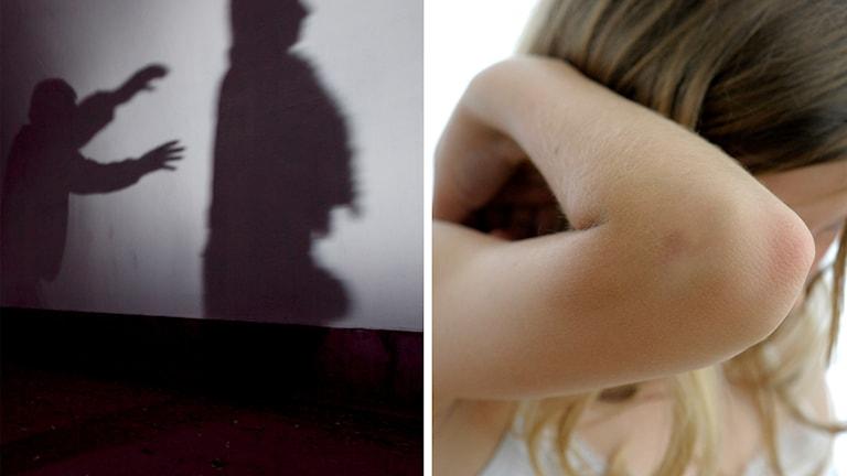 Två skuggade personer och en flicka som gömmer ansiktet