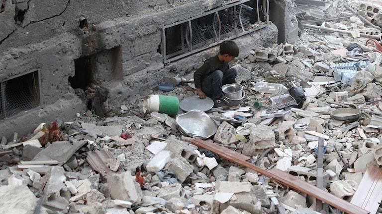 Ett barn i Aleppo
