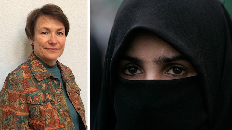 Kristdemokraten Birgitta Sacredeus och en kvinna i burka.