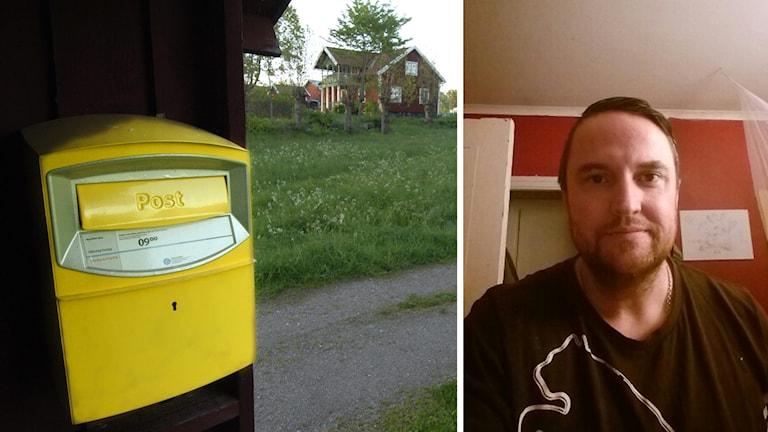 En postlåda på landsbygden och tidigare Sverigedemokraten John Säljgård.