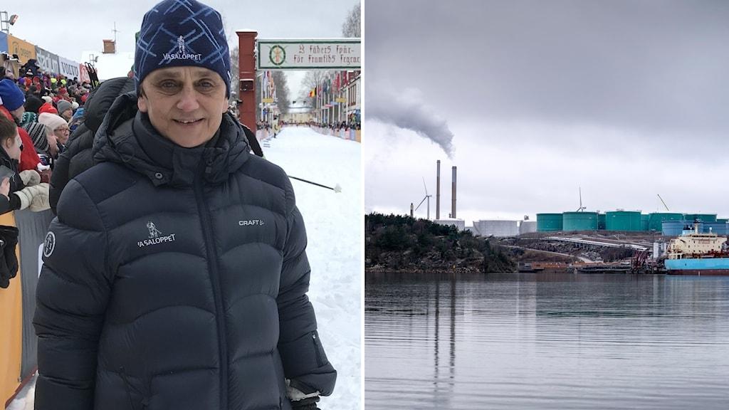 En kvinna med jacka ler mot kameran och en infälld bild på ett oljaraffinaderi.