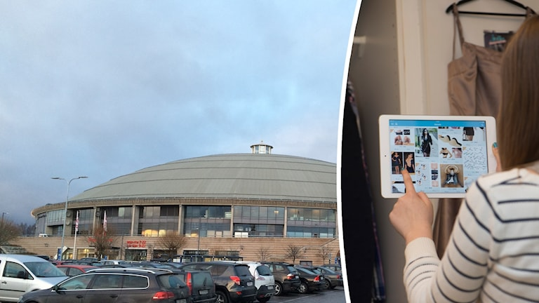 Kupolen, ett köpcentrum i Borlänge och en kvinna som skrollar på en läsplatta.