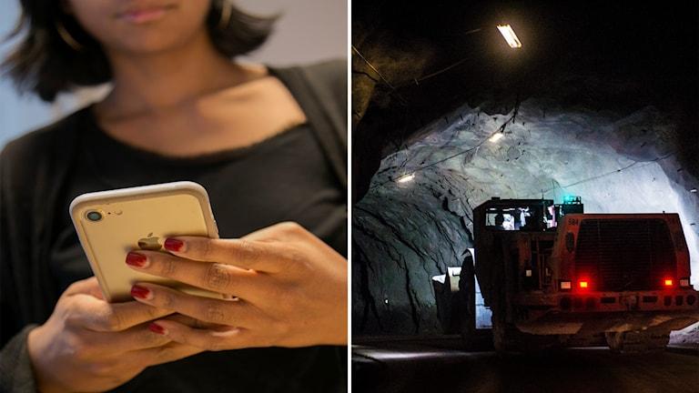 En kvinna som håller i en mobiltelefon och en maskin som kör i en gruva.