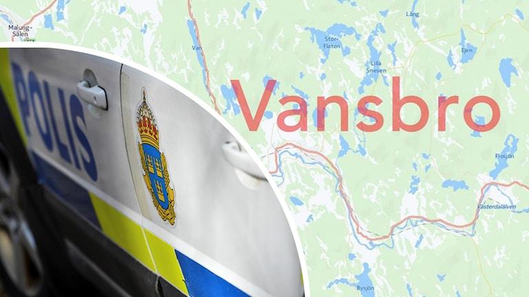 Bildmontage av dels en polisbil, dels en karta över Vansbro kommun.