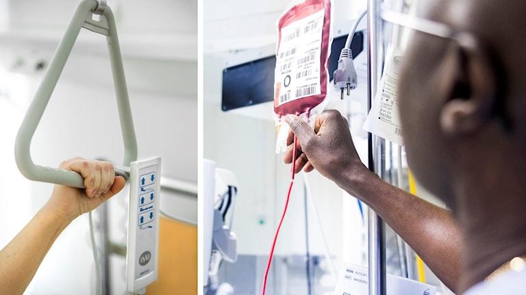 Bilder från sjukhusmiljö, bland annat blodpåse på droppställning.