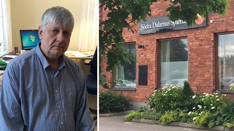 Hedemoras socialdemokratiske kommunalråd Ulf Hansson och Södra Dalarnas Sparbank.