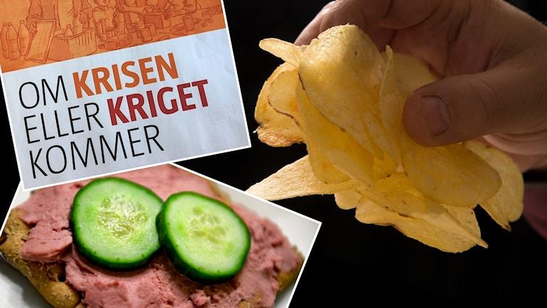Ett collage med bild på en leverpastejssmörgås, chips och krisberedskapsbroschyr.