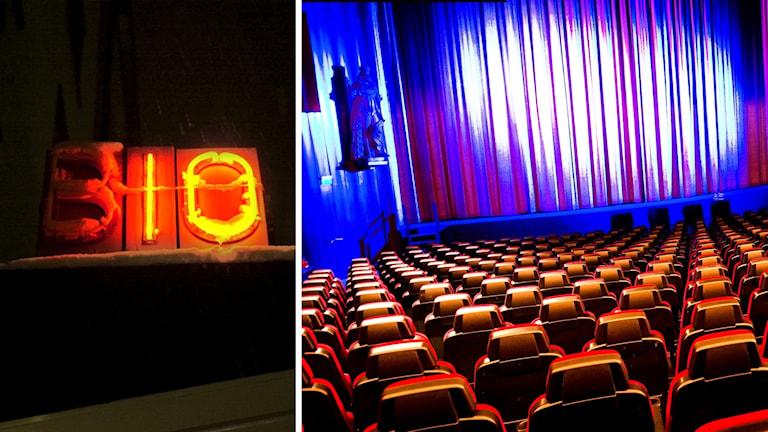 En neonskylt det står bio på och en översikt över en biograf.