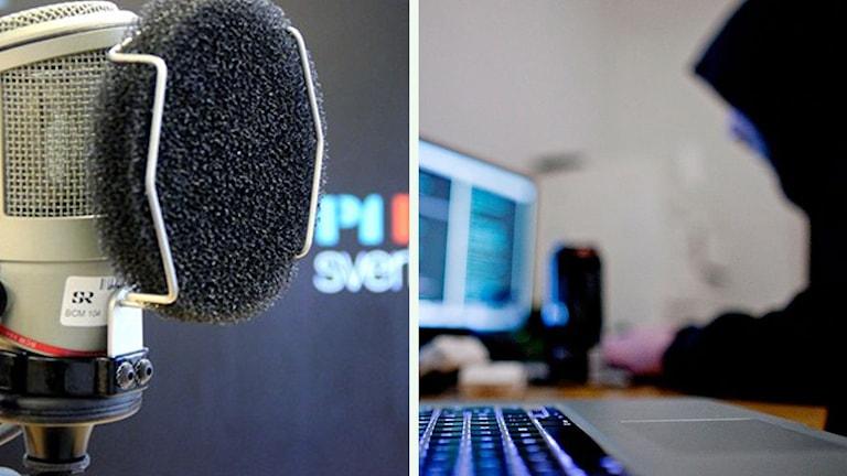 En mikrofon och en person som sitter framför en dator