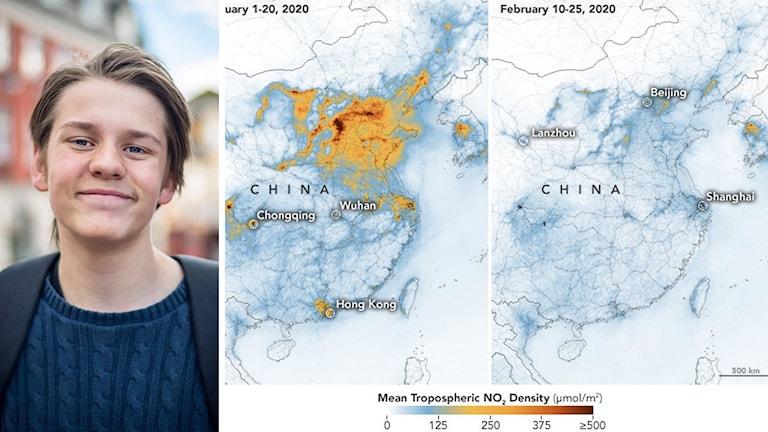 Andreas Magnusson och kartor över Kina och utsläpp av kväveoxid.