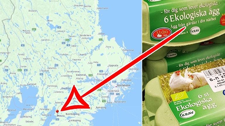 En karta där motala är markerat.
