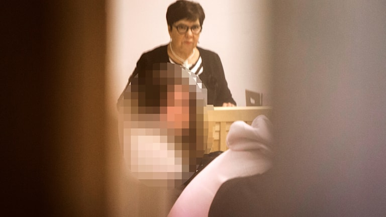 En pixlad bild av den åtalade 20-åriga kvinnan
