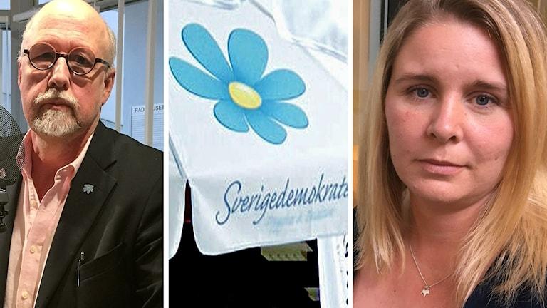 Ansiktsbilder på Benny Rosengren och Madelene Vestin samt Sverigedemokraternas partisymbol.