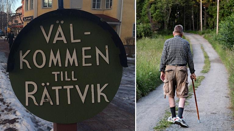 """En bil på en skylt där det står """"Välkommen till Rättvik"""" och en äldre man som promenerar med en käpp."""