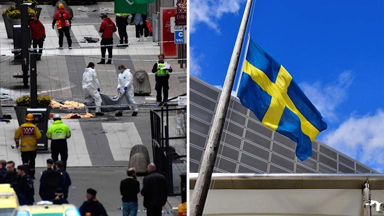 Räddningsarbetare på Drottninggatan och en flagga på halv stång.