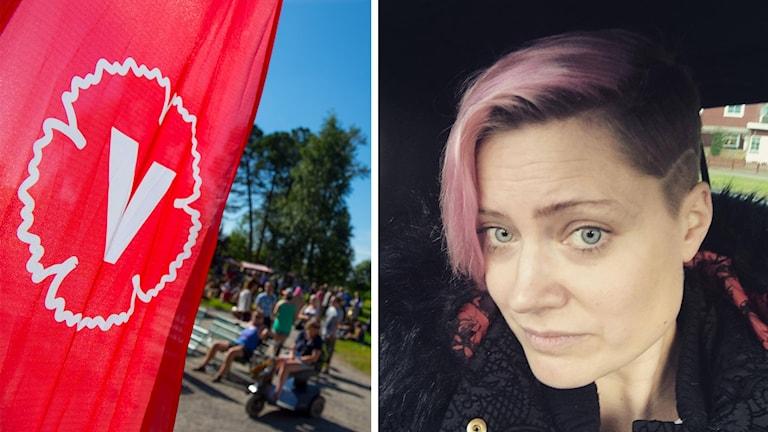 Vänsterpartisten Frida Holmgren och Vänsterpartiets logga.