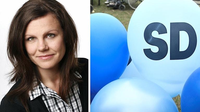 Jenny Åberg, statsvetare vid Högskolan Dalarna och ballonger med Sverigedemokraternas namn på.