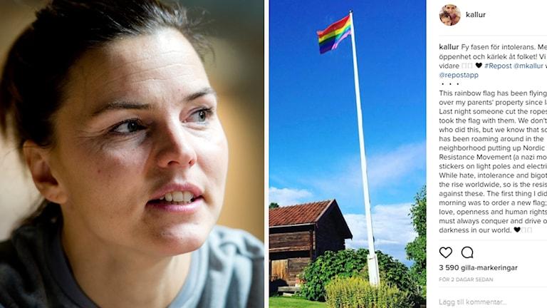 Susanna Kallur och en bild på deras flagga
