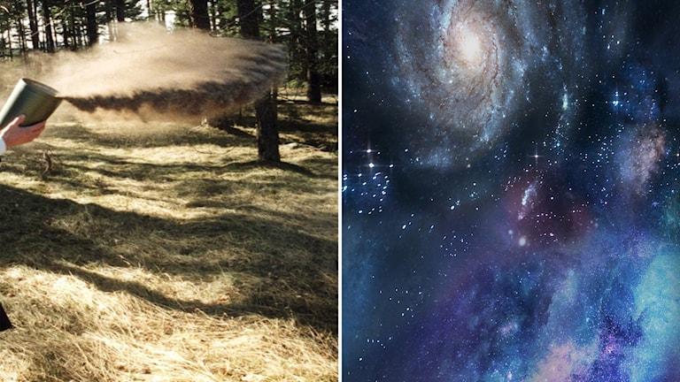 Aska från en urna sprids i skog/rymdfoto