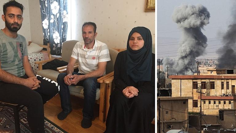 Två män och en kvinna i sjal sitter i sitt vardagsrum i Säter.