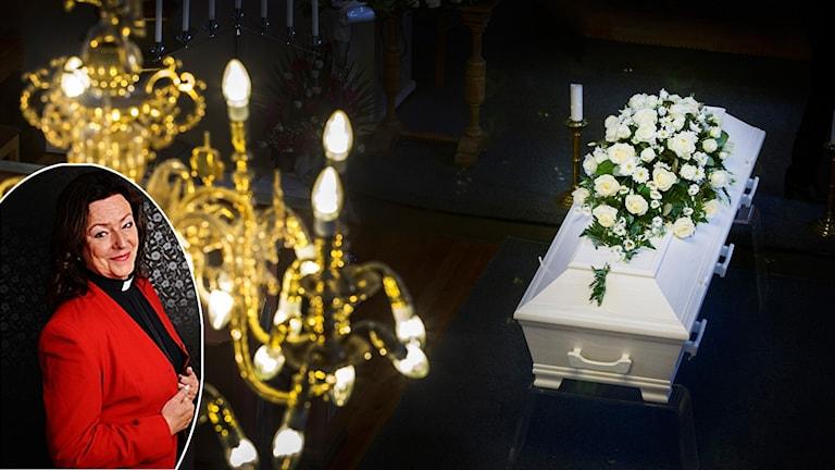 Monica Jones, kyrkoherde i Rättviks pastorat, och en kista i en kyrka.