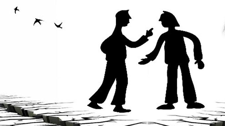 Två personer som grälar