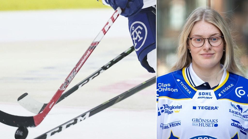 En bild på hockeyklubbor och till höger en bild på Annie Sihlén.