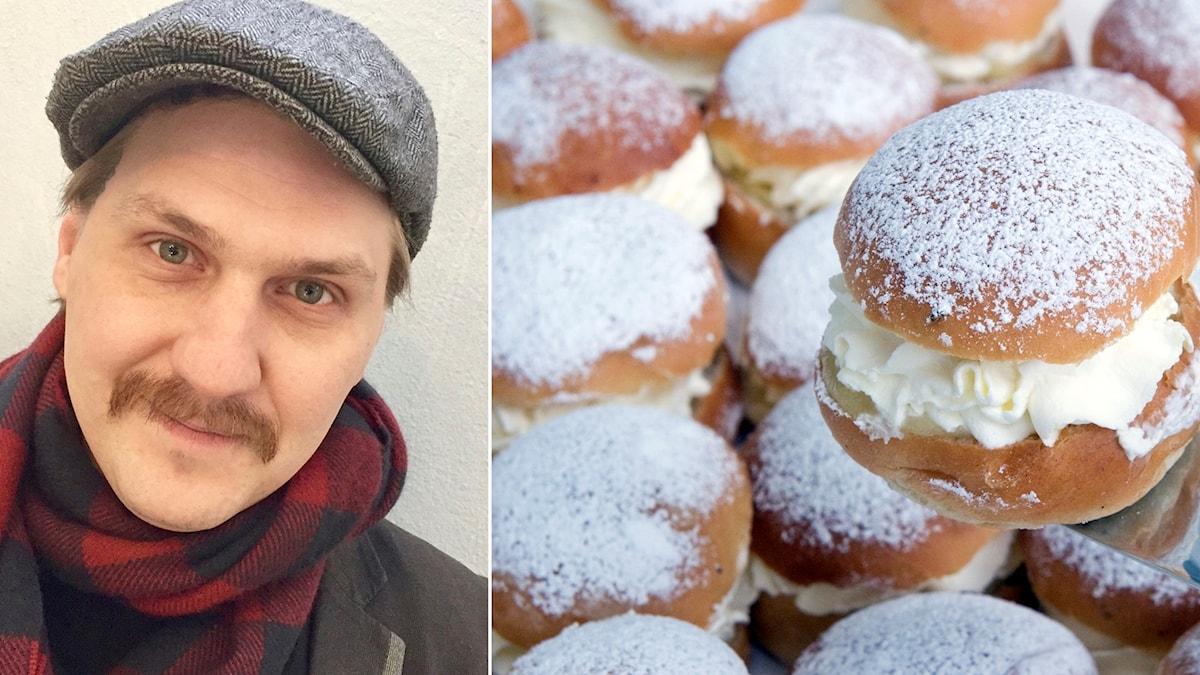 Fotomontage: En bild på Mika Olavi och en bild på massa semlor