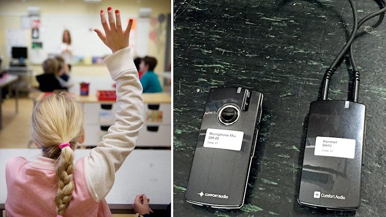 En elev som räcker upp handen och medhjälp för hörselskadade.