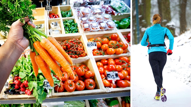 Till vänster bild på en hand som håller upp ett knippe morötter framför en disk med andra grönsaker, till höger en bild, tagen bakifrån, på en kvinna som joggar.