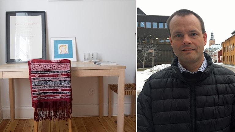 Rum med bord och stol. Foto av Mats Berglund som är integrationschef på Falu kommun.