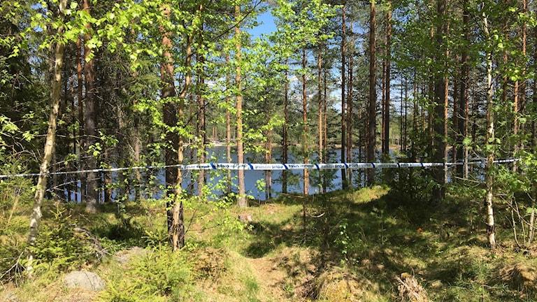 skog, stensjön och polisen som spärrat av platsen.