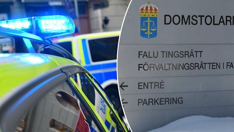 En polisbil och en skylt som det står Falu tingsrätt på.