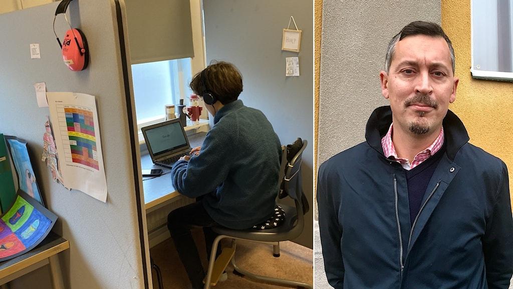 Bilden till vänster: Pojke sitter i studiebås och tittar i datorn. Bilden till höger: En man i mörk jacka står framför ett hus med gul och grå putsad vägg.