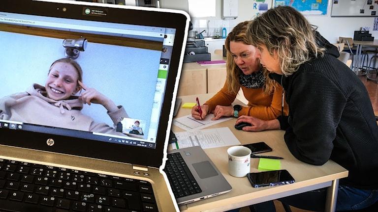 Eleven Cornelia Heimer syns på en datorskärm och lärarna Sara Göras och Ulrica Elisson Grane sitter vid en dator i ett klassrum.