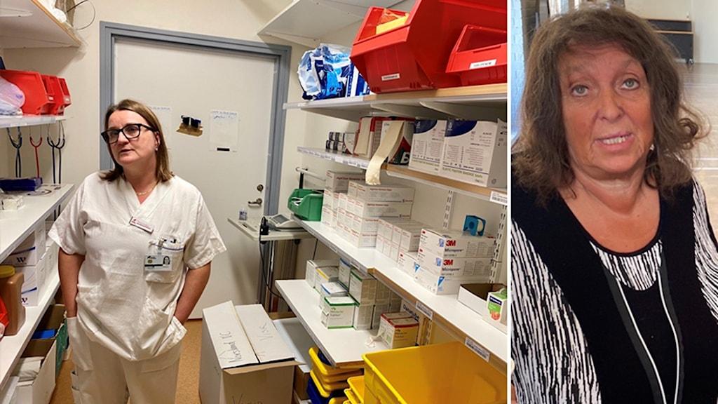 Bildmontage: En distriktssköterska i ett förråd med plastartiklar. Miljöpartisten Kerstin Lundh.