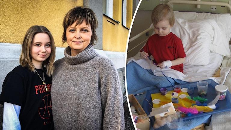 En tonårstjej och en kvinna står mot en husvägg. En liten flicka sitter i en sjukhussäng och målar.