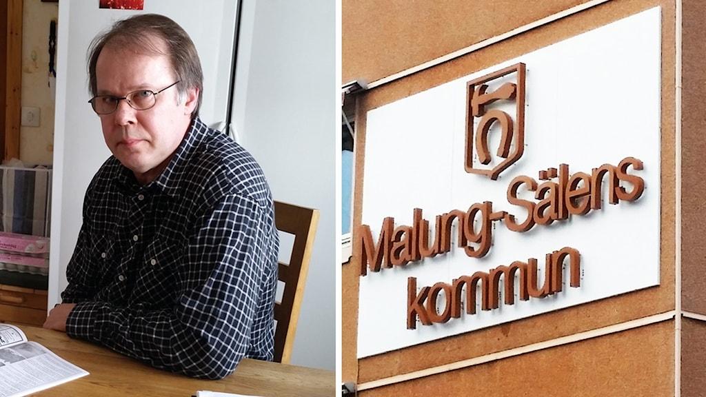 Claes Ahlén och en bild på Malung-Sälens kommunhus