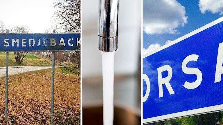 Kommunskyltar i Smedjebacken och Orsa och rinnande vatten