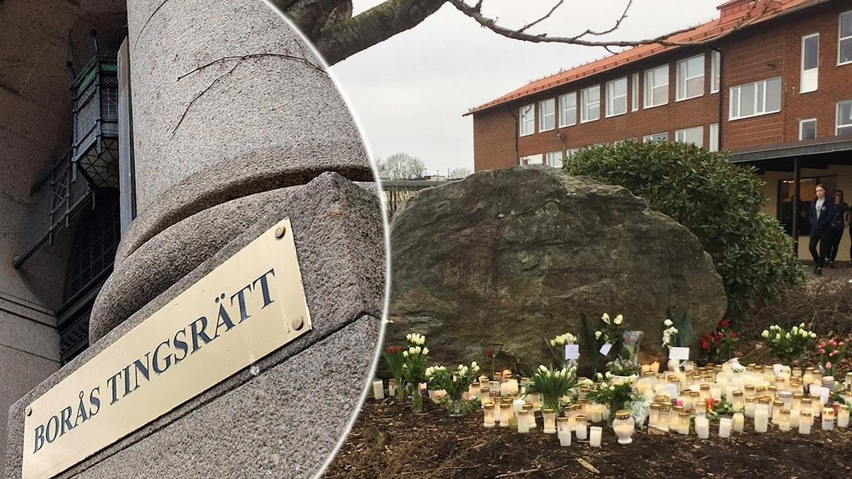 Bild på tingsrätten och blomhavet utanför Ängsskolan efter olyckan.