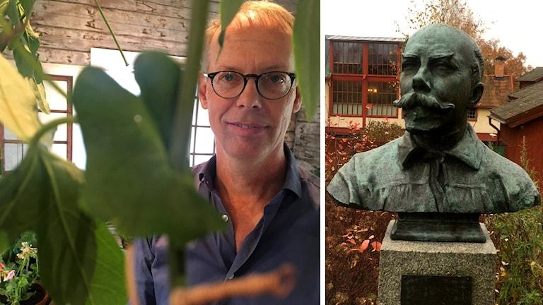 Gunnar Kaj tittar fram bakom växter, till höger syns en staty av konstnären Carl Larsson.