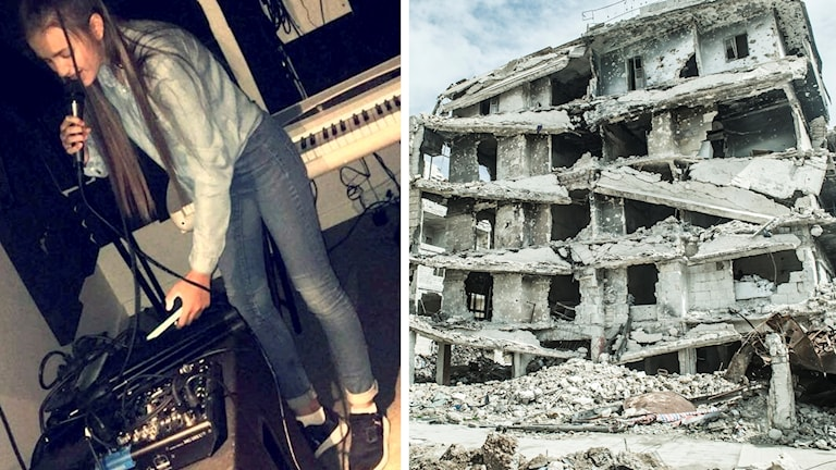 Halla Alrefay sjunger i mikrofon, andra bilden visar ett sönderbombat hus i aleppo.