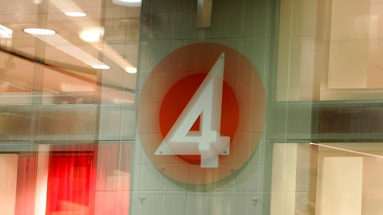 TV4:s logotype med rörelseoskärpa i bilden.